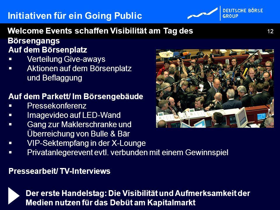 12 Auf dem Börsenplatz Verteilung Give-aways Aktionen auf dem Börsenplatz und Beflaggung Auf dem Parkett/ Im Börsengebäude Pressekonferenz Imagevideo