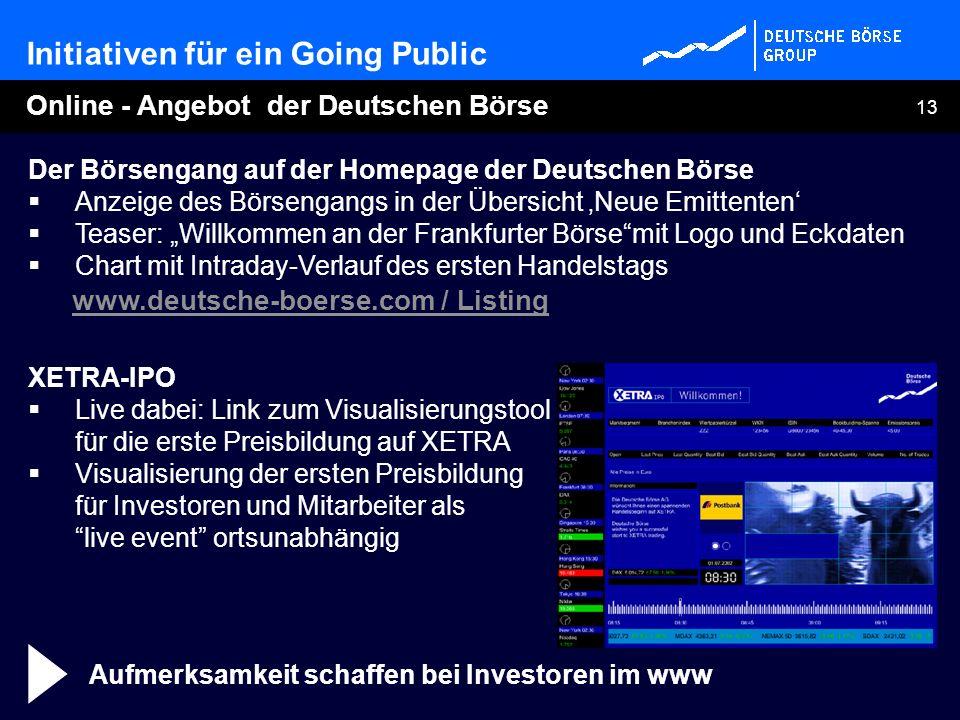13 Der Börsengang auf der Homepage der Deutschen Börse Anzeige des Börsengangs in der Übersicht Neue Emittenten Teaser: Willkommen an der Frankfurter