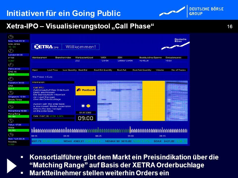 16 Xetra-IPO – Visualisierungstool Call Phase Konsortialführer gibt dem Markt ein Preisindikation über die Matching Range auf Basis der XETRA Orderbuc