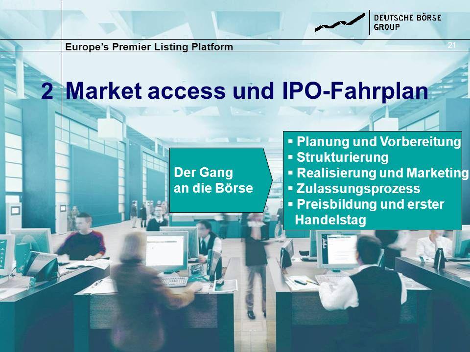 Market access und IPO-Fahrplan Europes Premier Listing Platform 2 21 Der Gang an die Börse Planung und Vorbereitung Strukturierung Realisierung und Ma
