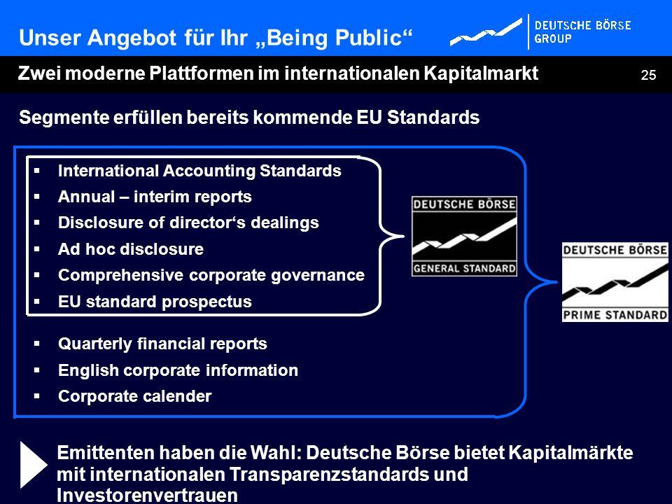 25 Emittenten haben die Wahl: Deutsche Börse bietet Kapitalmärkte mit internationalen Transparenzstandards und Investorenvertrauen Segmente erfüllen b