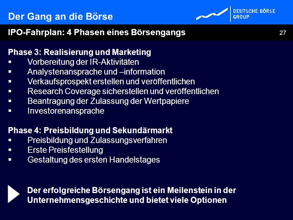 27 Phase 3: Realisierung und Marketing Vorbereitung der IR-Aktivitäten Analystenansprache und –information Verkaufsprospekt erstellen und veröffentlic