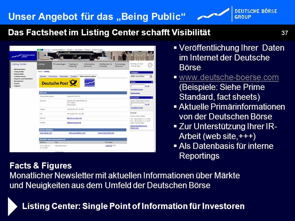 37 Das Factsheet im Listing Center schafft Visibilität Listing Center: Single Point of Information für Investoren Veröffentlichung Ihrer Daten im Inte