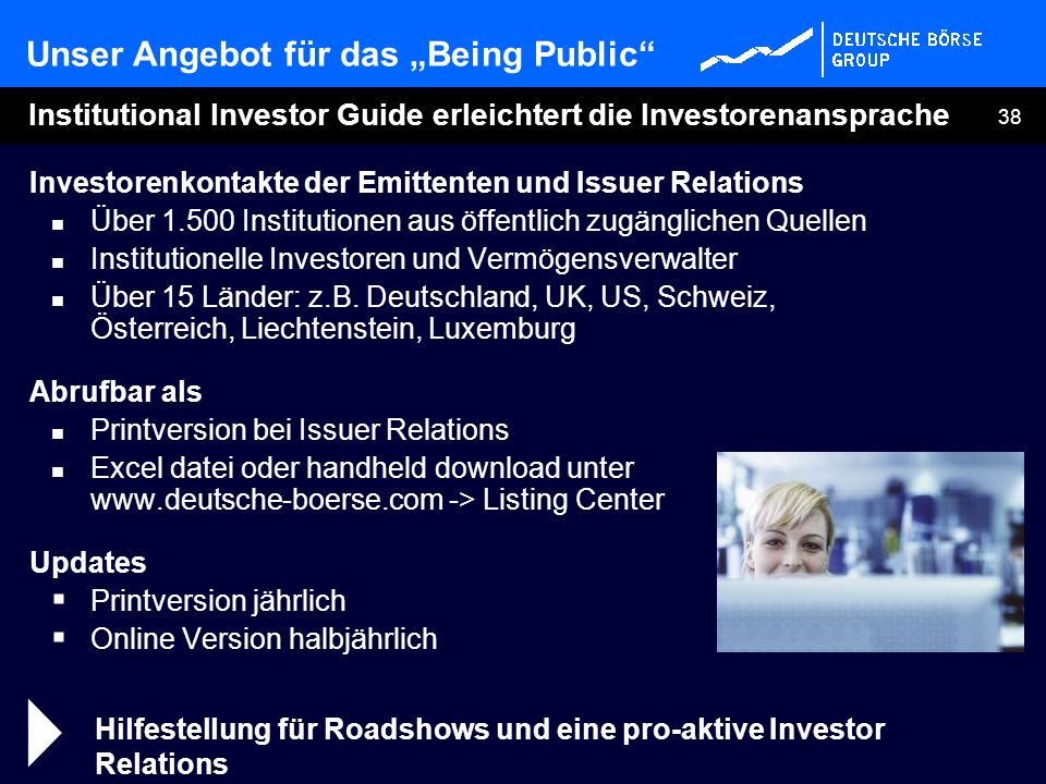 38 Institutional Investor Guide erleichtert die Investorenansprache Investorenkontakte der Emittenten und Issuer Relations Über 1.500 Institutionen au