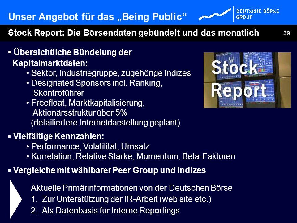 39 Übersichtliche Bündelung der Kapitalmarktdaten: Sektor, Industriegruppe, zugehörige Indizes Designated Sponsors incl. Ranking, Skontroführer Freefl
