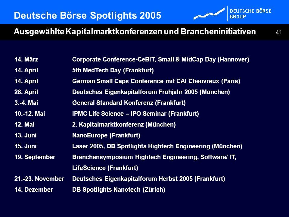 41 Deutsche Börse Spotlights 2005 Ausgewählte Kapitalmarktkonferenzen und Brancheninitiativen 14. MärzCorporate Conference-CeBIT, Small & MidCap Day (