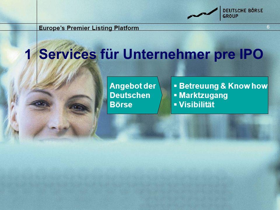 Services für Unternehmer pre IPO Europes Premier Listing Platform 1 6 Angebot der Deutschen Börse Betreuung & Know how Marktzugang Visibilität