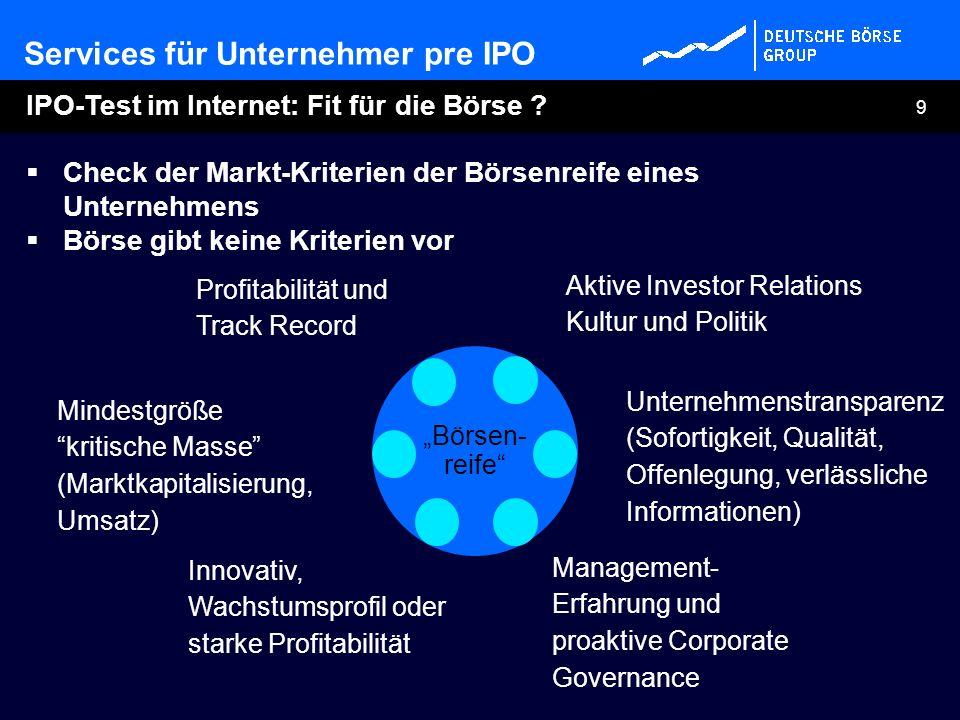 9 IPO-Test im Internet: Fit für die Börse ? Check der Markt-Kriterien der Börsenreife eines Unternehmens Börse gibt keine Kriterien vor Innovativ, Wac