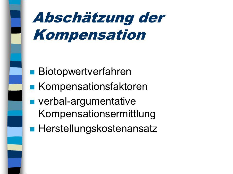 Abschätzung der Kompensation n Biotopwertverfahren n Kompensationsfaktoren n verbal-argumentative Kompensationsermittlung n Herstellungskostenansatz