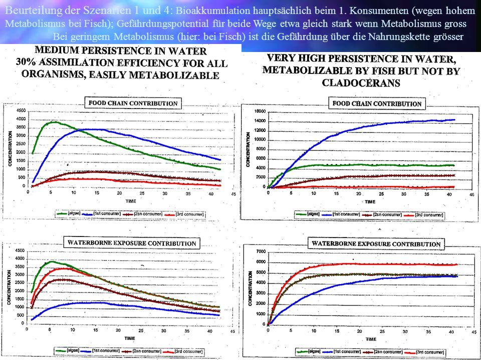 Beurteilung der Szenarien 1 und 4: Bioakkumulation hauptsächlich beim 1. Konsumenten (wegen hohem Metabolismus bei Fisch); Gefährdungspotential für be