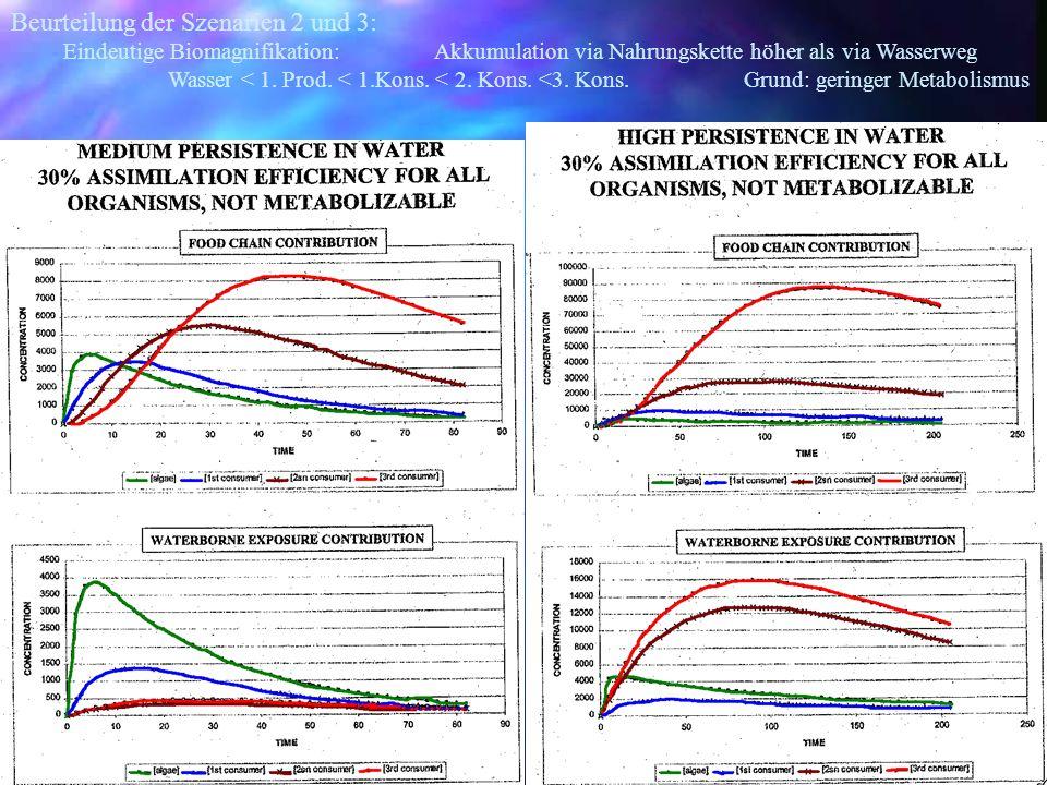 Beurteilung der Szenarien 2 und 3: Eindeutige Biomagnifikation: Akkumulation via Nahrungskette höher als via Wasserweg Wasser < 1. Prod. < 1.Kons. < 2