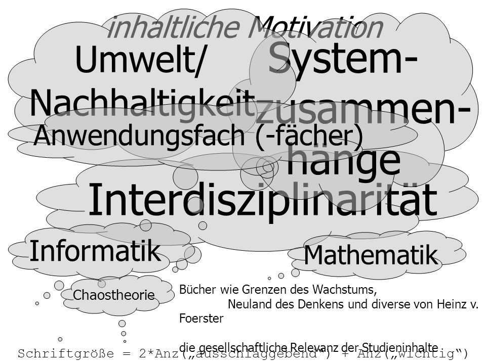 inhaltliche Motivation Interdisziplinarität Schriftgröße = 2*Anz(ausschlaggebend) + Anz(wichtig) Bücher wie Grenzen des Wachstums, Neuland des Denkens