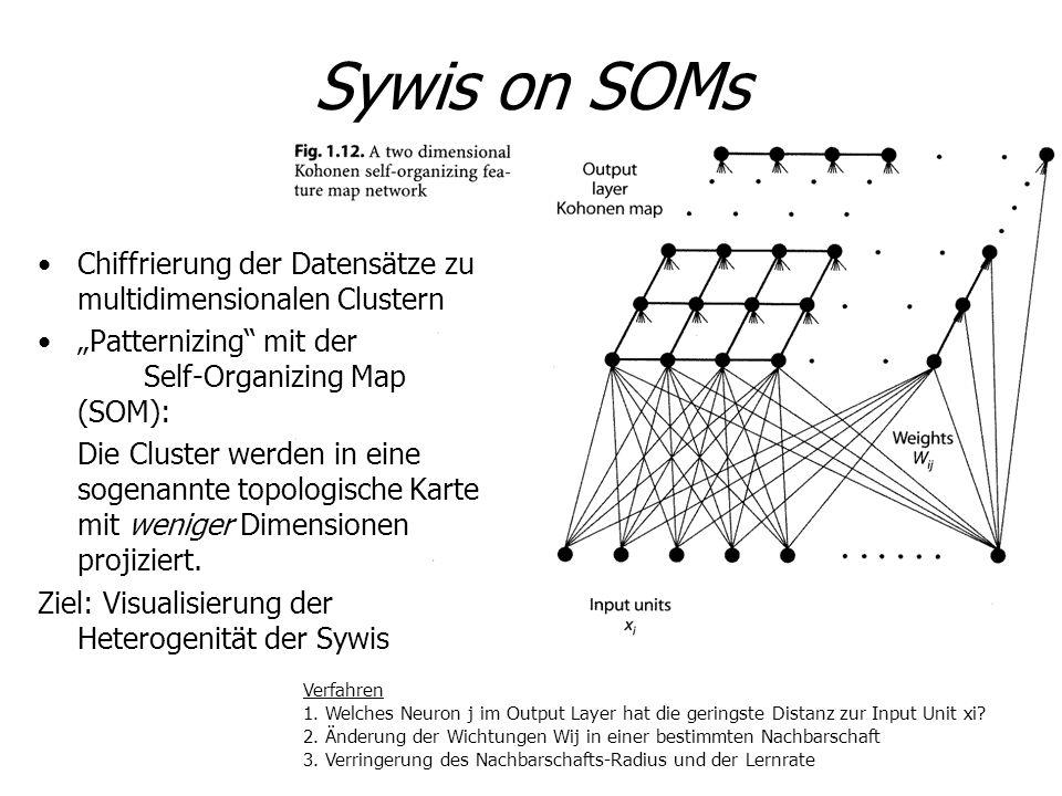 Sywis on SOMs Chiffrierung der Datensätze zu multidimensionalen Clustern Patternizing mit der Self-Organizing Map (SOM): Die Cluster werden in eine so