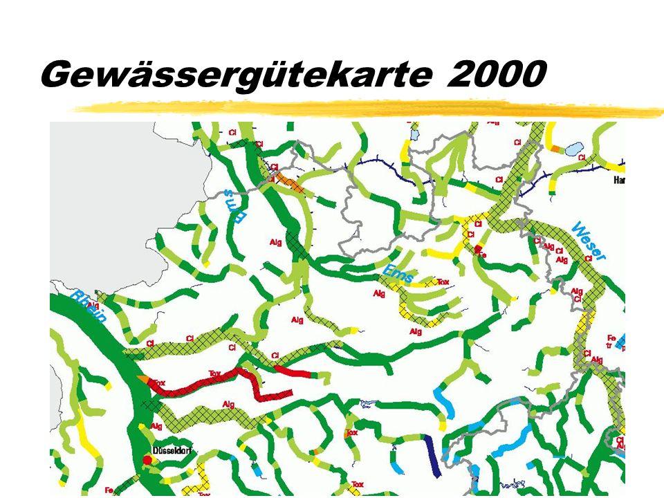 Gewässergütekarte 2000 Die Gewässergütekartierung wird seit 1960 alle fünf Jahre vorgenommen. Im Kartenausschnitt: Die komplette Emscher wird geklärt,