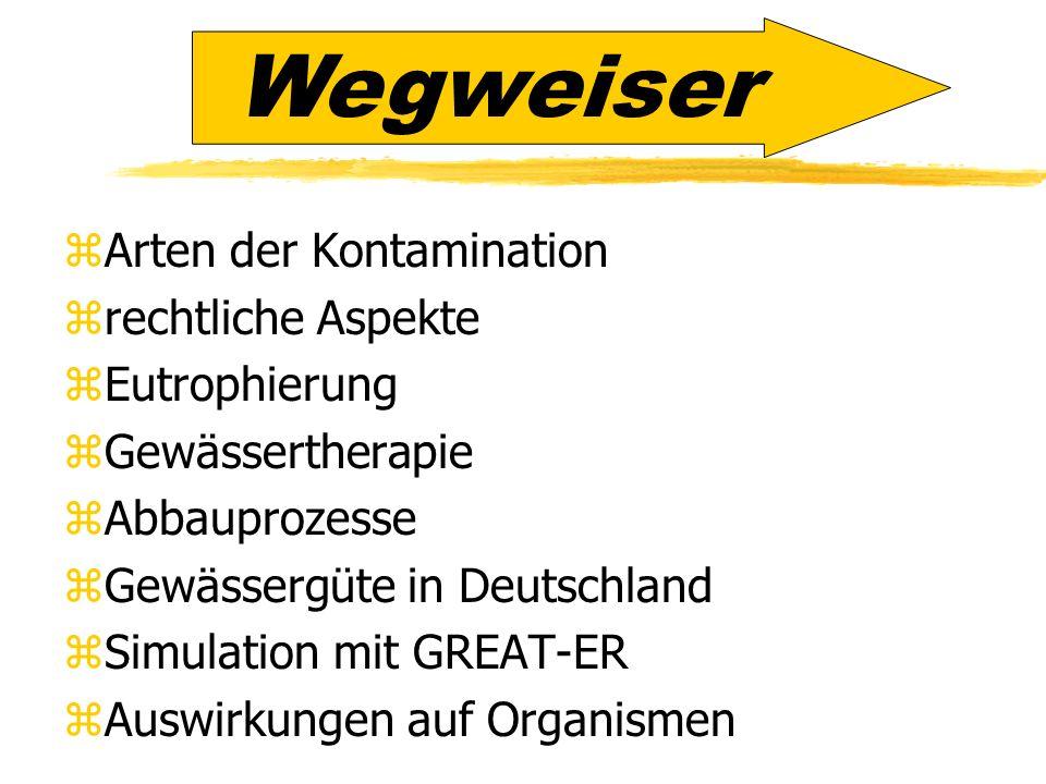 zArten der Kontamination zrechtliche Aspekte zEutrophierung zGewässertherapie zAbbauprozesse zGewässergüte in Deutschland zSimulation mit GREAT-ER zAu