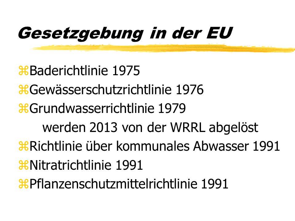 Gesetzgebung in der EU zBaderichtlinie 1975 zGewässerschutzrichtlinie 1976 zGrundwasserrichtlinie 1979 werden 2013 von der WRRL abgelöst zRichtlinie ü