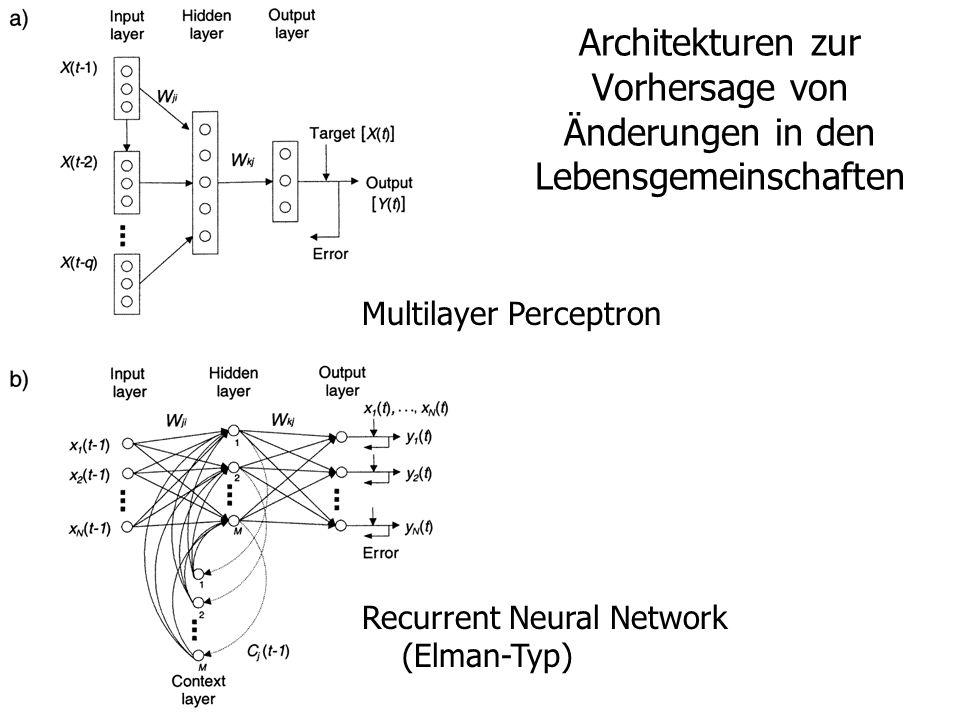 Architekturen zur Vorhersage von Änderungen in den Lebensgemeinschaften Multilayer Perceptron Recurrent Neural Network (Elman-Typ)