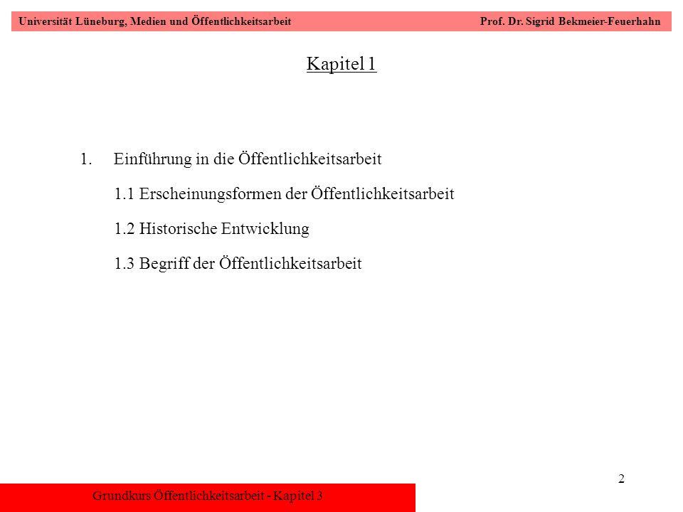 Grundkurs Öffentlichkeitsarbeit - Kapitel 3 Universität Lüneburg, Medien und Öffentlichkeitsarbeit Prof. Dr. Sigrid Bekmeier-Feuerhahn 2 Kapitel 1 1.E