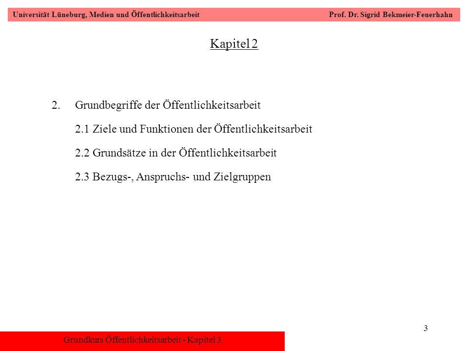 Grundkurs Öffentlichkeitsarbeit - Kapitel 3 Universität Lüneburg, Medien und Öffentlichkeitsarbeit Prof. Dr. Sigrid Bekmeier-Feuerhahn 3 Kapitel 2 2.G