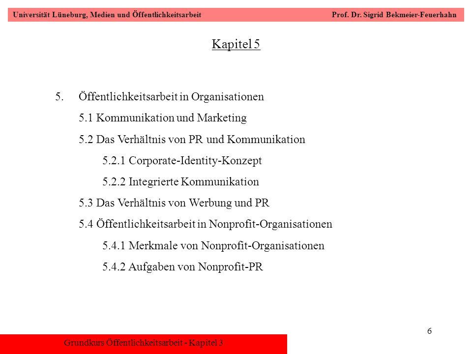 Grundkurs Öffentlichkeitsarbeit - Kapitel 3 Universität Lüneburg, Medien und Öffentlichkeitsarbeit Prof. Dr. Sigrid Bekmeier-Feuerhahn 6 Kapitel 5 5.Ö
