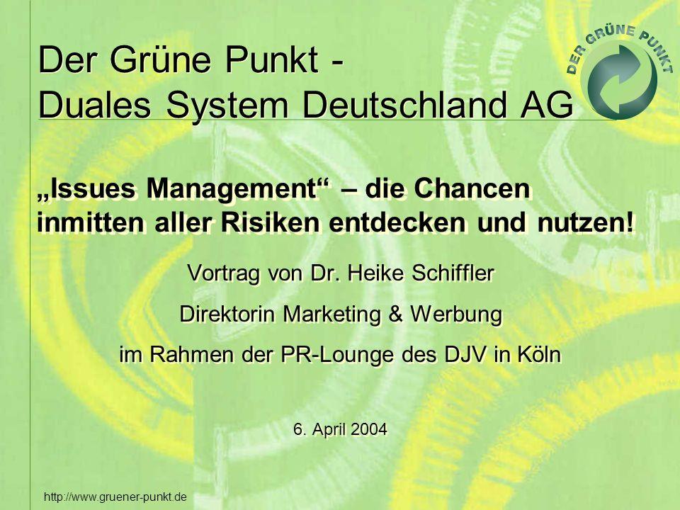 Der Grüne Punkt - Duales System Deutschland AG http://www.gruener-punkt.de Issues Management – die Chancen inmitten aller Risiken entdecken und nutzen
