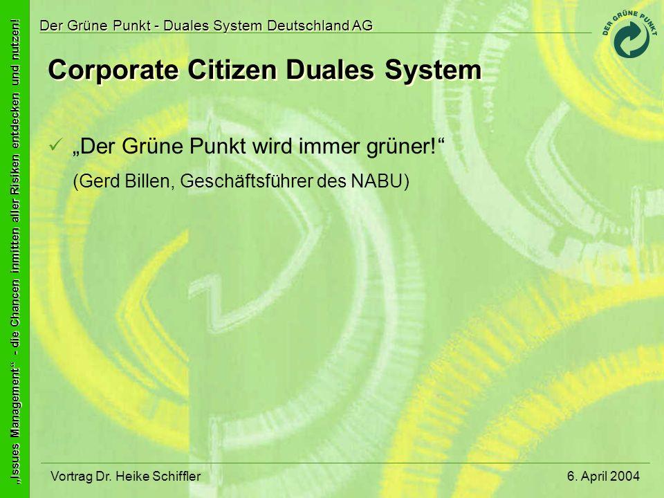 Issues Management - die Chancen inmitten aller Risiken entdecken und nutzen! Der Grüne Punkt - Duales System Deutschland AG 6. April 2004Vortrag Dr. H