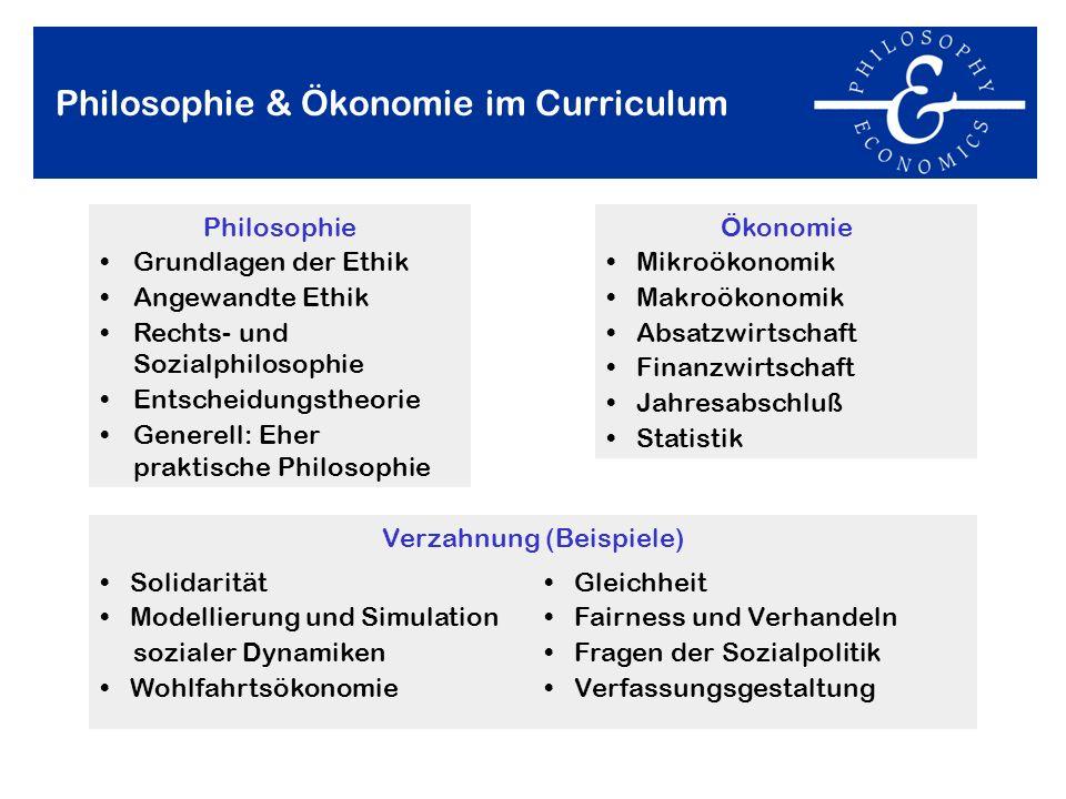 Philosophie & Ökonomie im Curriculum Philosophie Grundlagen der Ethik Angewandte Ethik Rechts- und Sozialphilosophie Entscheidungstheorie Generell: Eh