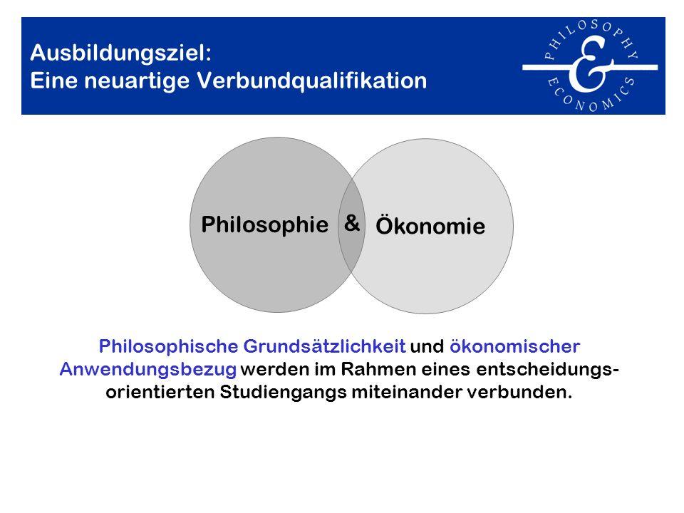 Ausbildungsziel: Eine neuartige Verbundqualifikation Philosophische Grundsätzlichkeit und ökonomischer Anwendungsbezug werden im Rahmen eines entschei