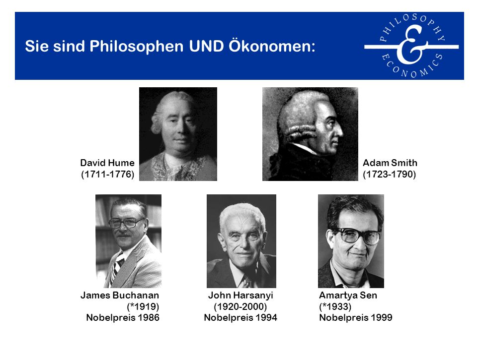 Sie sind Philosophen UND Ökonomen: Adam Smith (1723-1790) James Buchanan (*1919) Nobelpreis 1986 David Hume (1711-1776) John Harsanyi (1920-2000) Nobe