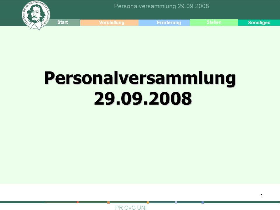 1 PR OvG UNI Personalversammlung 29.09.2008 Start VorstellungErörterung Sonstiges Stellen