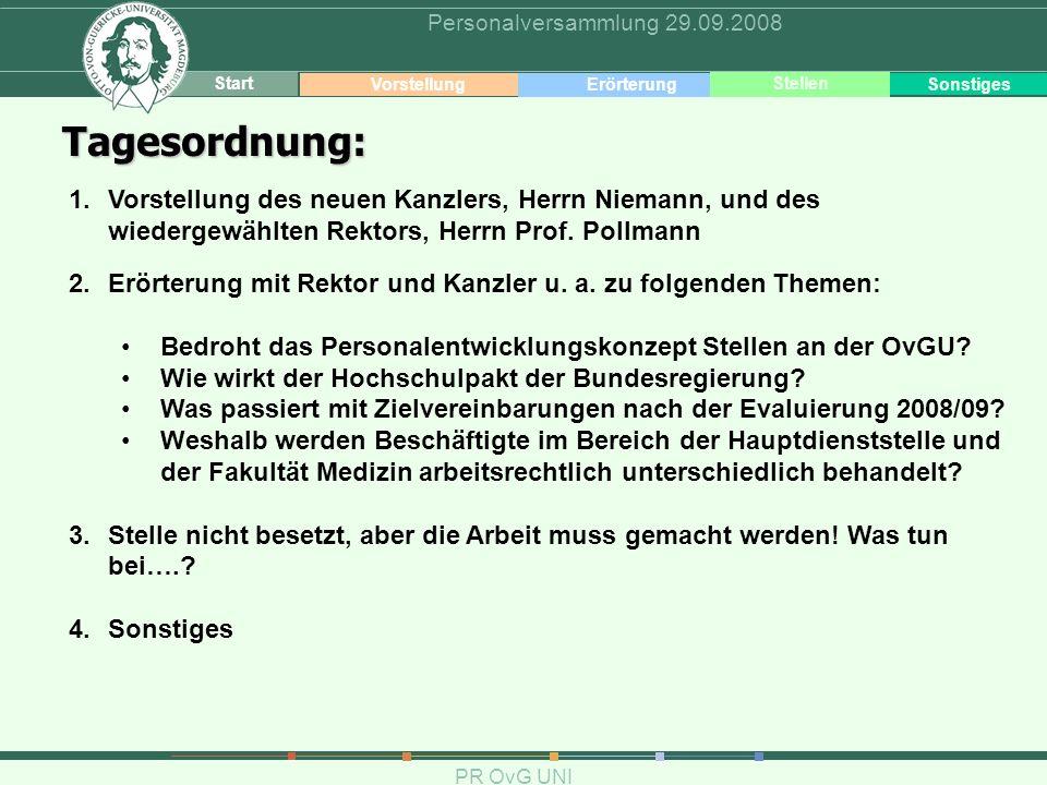 2 Themen PR OvG UNI Personalversammlung 29.09.2008 Tagesordnung: 1.Vorstellung des neuen Kanzlers, Herrn Niemann, und des wiedergewählten Rektors, Her