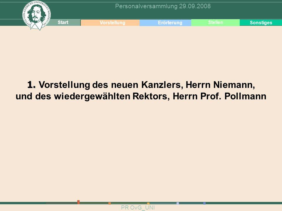 3 Vorstellung PR OvG_UNI Personalversammlung 29.09.2008 Start VorstellungErörterungSonstiges Stellen 1. 1. Vorstellung des neuen Kanzlers, Herrn Niema