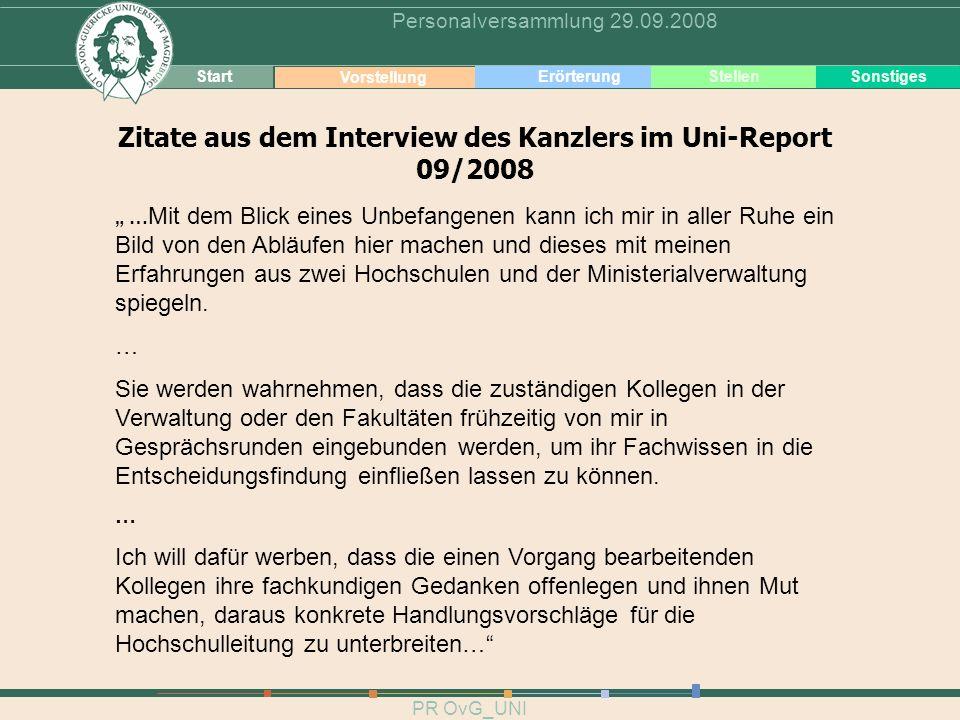 4 PR OvG_UNI Personalversammlung 29.09.2008 Zitate aus dem Interview des Kanzlers im Uni-Report 09/2008 Start Vorstellung ErörterungSonstiges Stellen