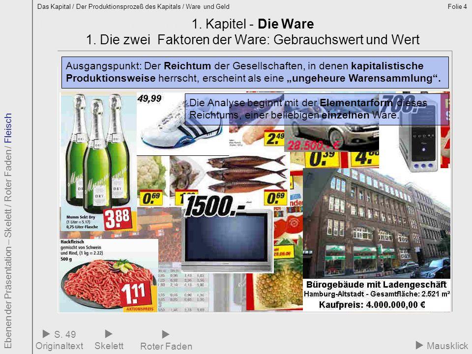 Folie 4 1.1 Ware – Elementarform des Reichtums 1. Kapitel - Die Ware 1. Die zwei Faktoren der Ware: Gebrauchswert und Wert Mausklick Ausgangspunkt: De