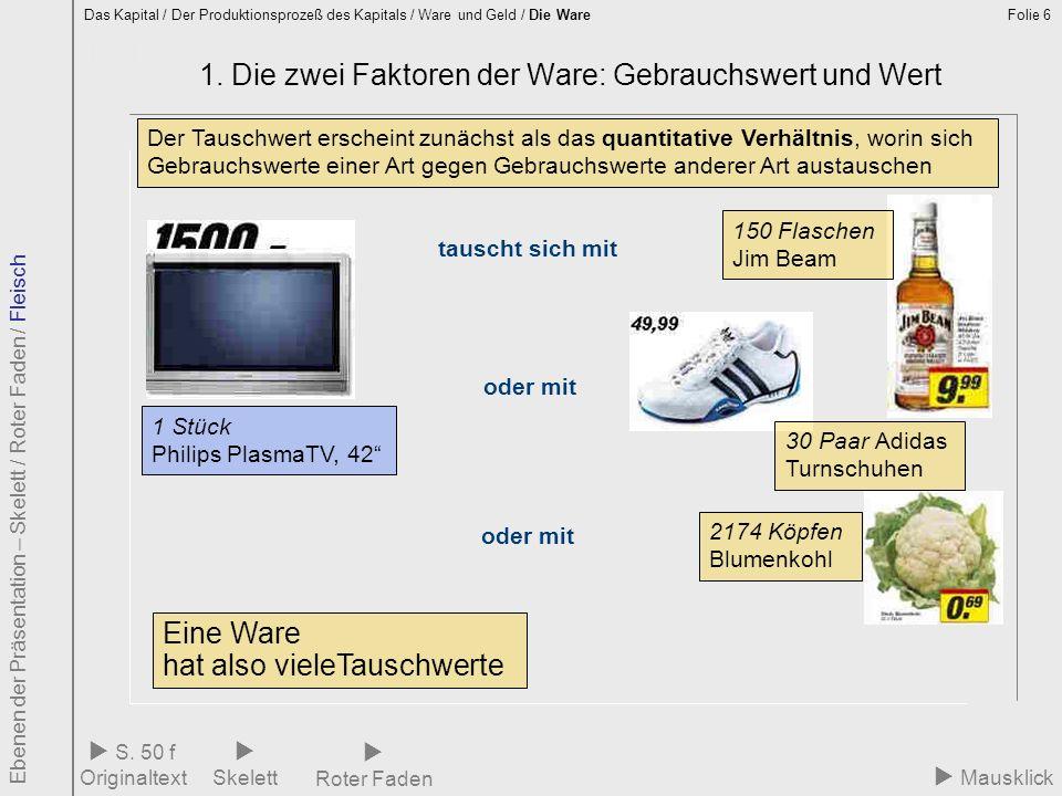 Folie 6 1.1 Eine Ware – viele Tauschwerte 1. Die zwei Faktoren der Ware: Gebrauchswert und Wert Das Kapital / Der Produktionsprozeß des Kapitals / War