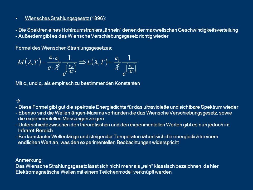 Wiensches Strahlungsgesetz (1896): - Die Spektren eines Hohlraumstrahlers ähneln denen der maxwellschen Geschwindigkeitsverteilung - Außerdem gibt es