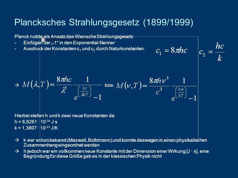 Plancksches Strahlungsgesetz (1899/1999) Planck nutzte als Ansatz das Wiensche Strahlungsgesetz: -Einfügen der -1 in den Exponential-Nenner -Ausdruck