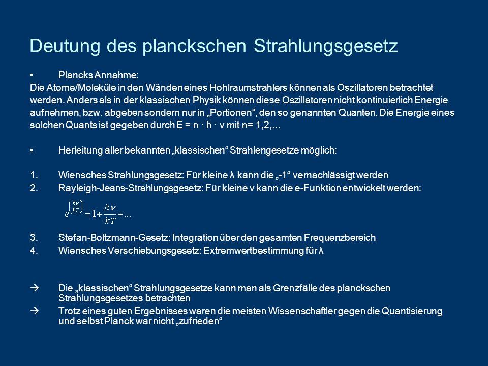 Deutung des planckschen Strahlungsgesetz Plancks Annahme: Die Atome/Moleküle in den Wänden eines Hohlraumstrahlers können als Oszillatoren betrachtet