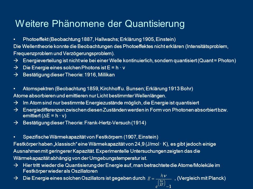 Weitere Phänomene der Quantisierung Photoeffekt (Beobachtung 1887, Hallwachs; Erklärung 1905, Einstein) Die Wellentheorie konnte die Beobachtungen des