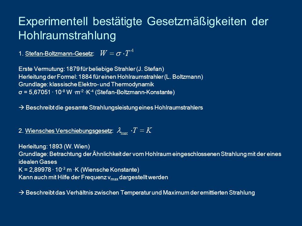 Experimentell bestätigte Gesetzmäßigkeiten der Hohlraumstrahlung 1. Stefan-Boltzmann-Gesetz: Erste Vermutung: 1879 für beliebige Strahler (J. Stefan)