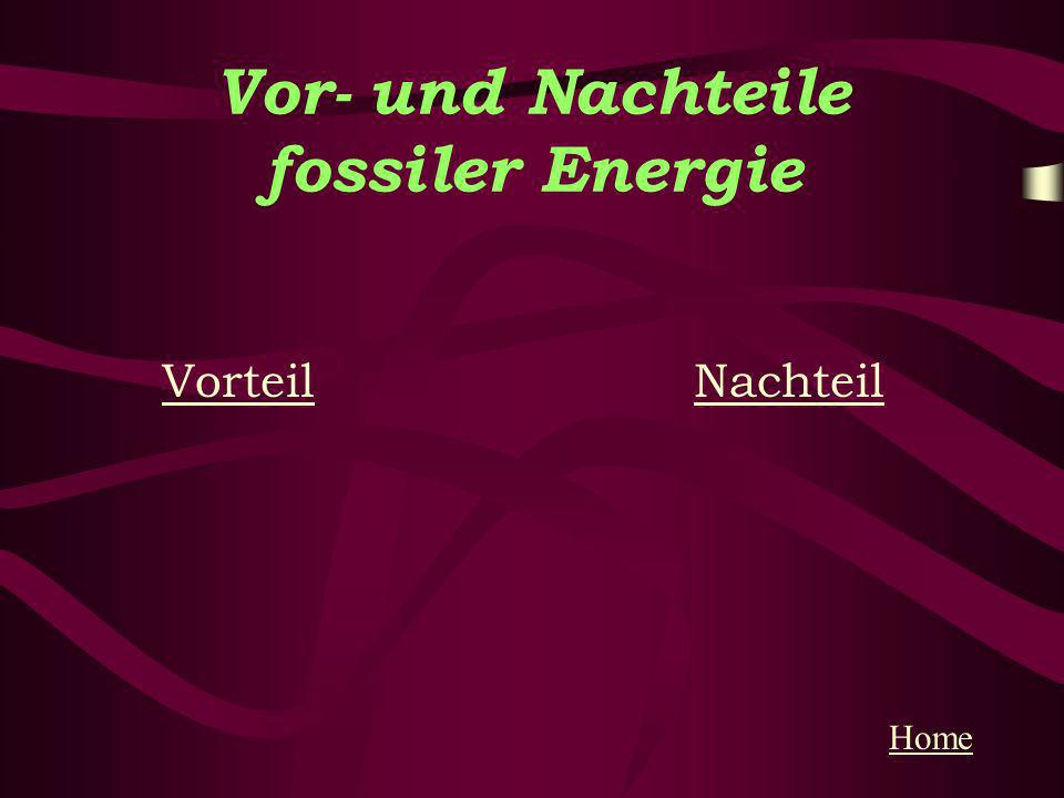 Vor- und Nachteile fossiler Energie VorteilVorteil NachteilNachteil Home