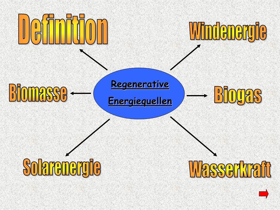 Definition zu Regenerativen Energien Als Regenerative Energie werden alle Energielieferanten genannt, die von Natur - aus im Umweltkreislauf eingebunden sind und deshalb der Umwelt nicht schaden.