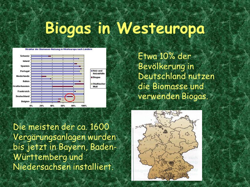 Biogas in Westeuropa Etwa 10% der Bevölkerung in Deutschland nutzen die Biomasse und verwenden Biogas. Die meisten der ca. 1600 Vergärungsanlagen wurd