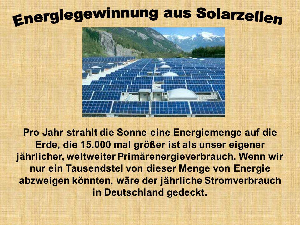 Pro Jahr strahlt die Sonne eine Energiemenge auf die Erde, die 15.000 mal größer ist als unser eigener jährlicher, weltweiter Primärenergieverbrauch.