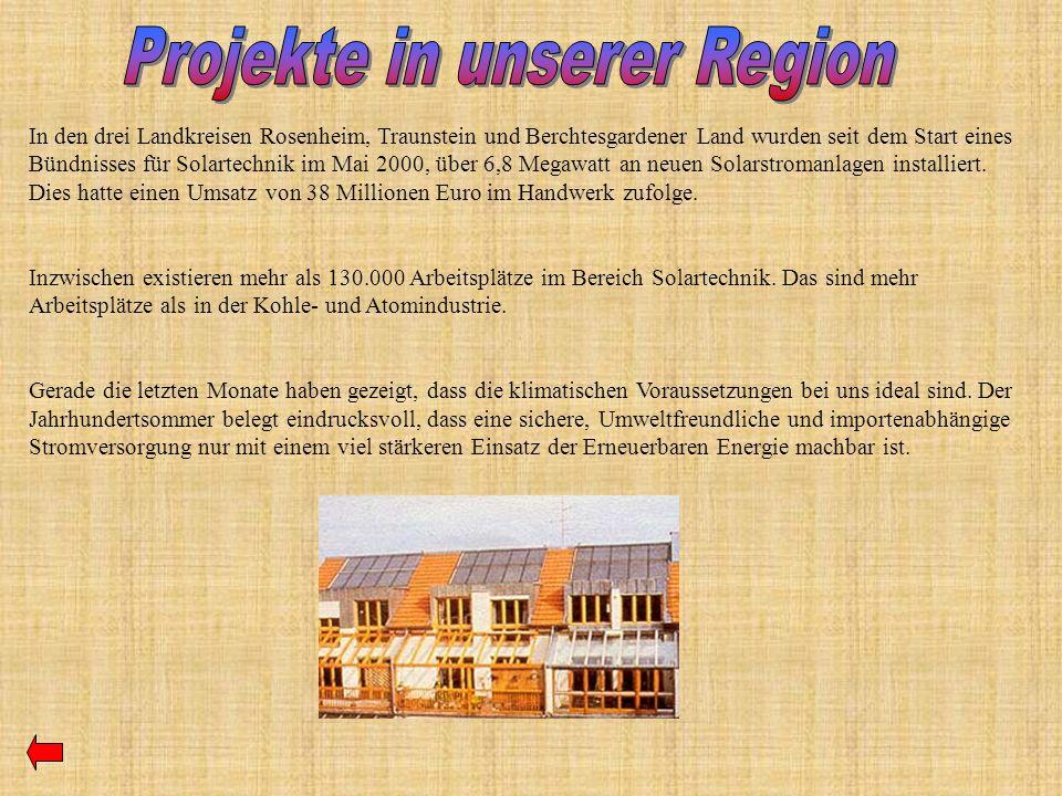 In den drei Landkreisen Rosenheim, Traunstein und Berchtesgardener Land wurden seit dem Start eines Bündnisses für Solartechnik im Mai 2000, über 6,8