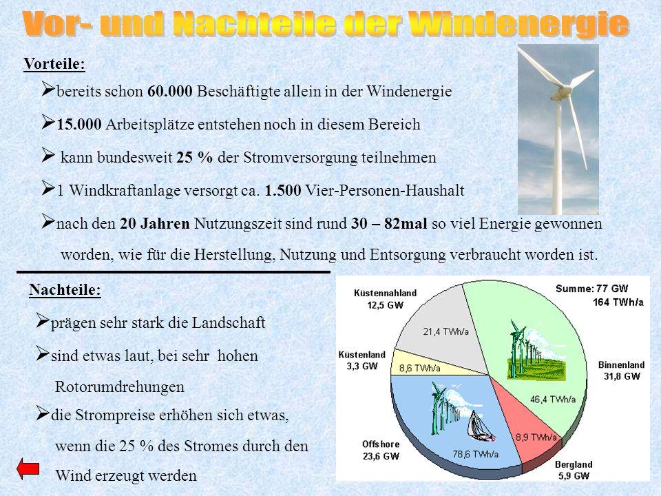 Vorteile: Nachteile: bereits schon 60.000 Beschäftigte allein in der Windenergie 15.000 Arbeitsplätze entstehen noch in diesem Bereich kann bundesweit