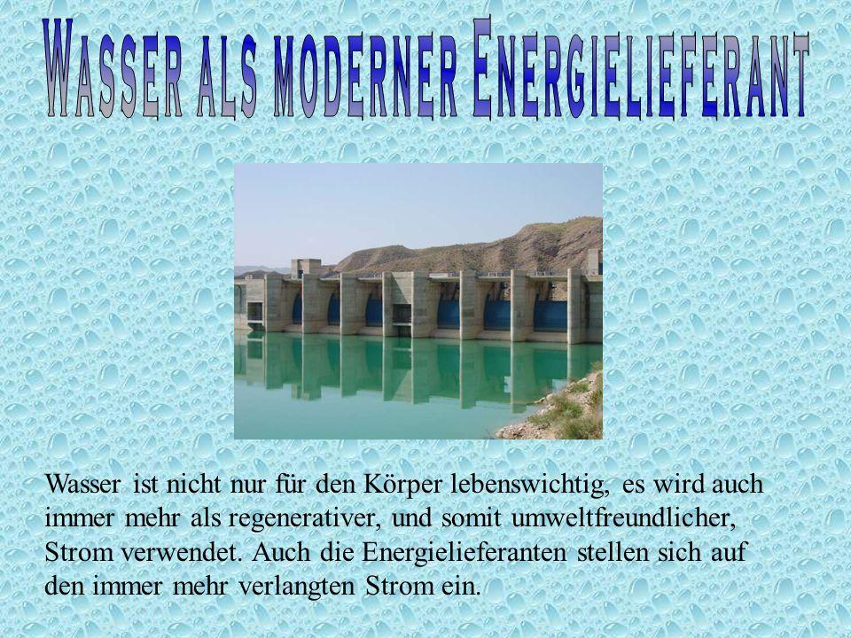Wasser ist ein in großen Massen vorhandener Energielieferant, da man auch aus nicht- Trinkwasser Strom gewinnen kann.