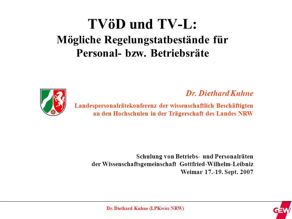 Dr.Diethard Kuhne (LPKwiss NRW) Gestaltungsspielräume (Gliederung) Dienstvereinbarungen, ggf.