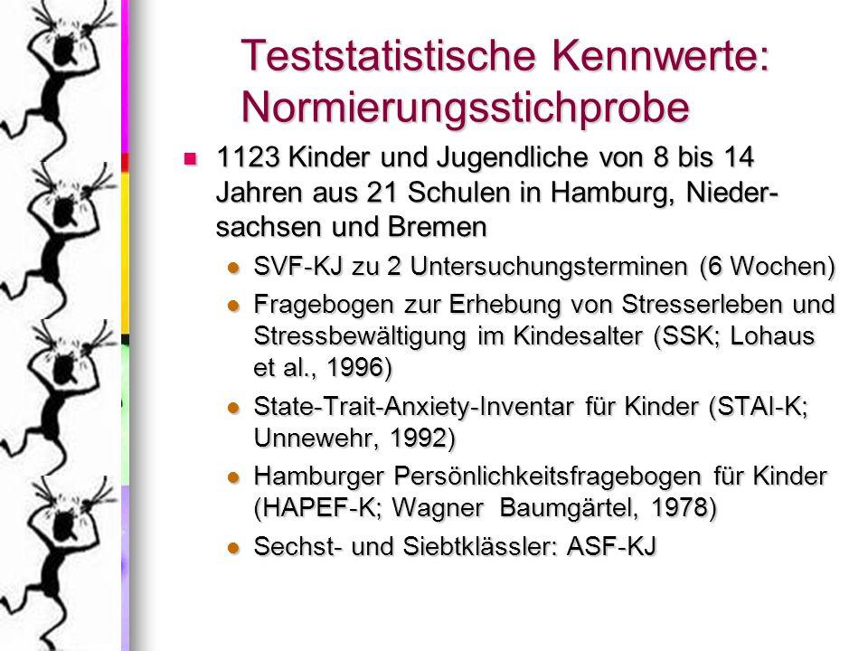 Teststatistische Kennwerte: Normierungsstichprobe 1123 Kinder und Jugendliche von 8 bis 14 Jahren aus 21 Schulen in Hamburg, Nieder- sachsen und Breme