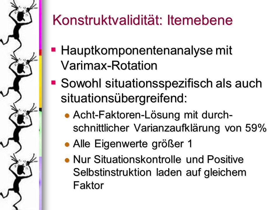 Konstruktvalidität: Itemebene Hauptkomponentenanalyse mit Varimax-Rotation Hauptkomponentenanalyse mit Varimax-Rotation Sowohl situationsspezifisch al